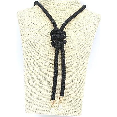 Malla collar mirada en malla negro collar de mirada XXL con cristales de brillo y nodos al final de joyería de moda de joyería de tendencia - MyBeautyworld24 marca