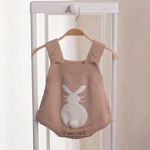 Zooarts recién Nacido bebé niñas Conejo de una Pieza de Punto Halter Body De Bebé Pelele Correa Mono Ropa Trajes marrón 80 1218 Months