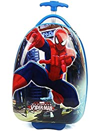 SGD Spider Man Kids ABS, Canvas and Polycarbonate Hard Sided Trolley, 16 Inches(Red)