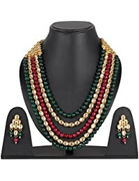 DS Multicolour Designer Traditional Ethnic Party Wear Onyx With Kundan Necklace Set With Earrings For Women And...