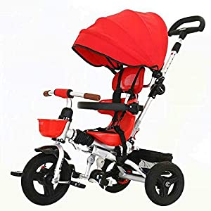 Childrens Tricycle,Baby Tricycle, Children's Trike 4 in 1 Stroller Detachable Canopy Ride On 3 WheelsTricycle for Kids Age 2 to 6, red zhaoyun   5
