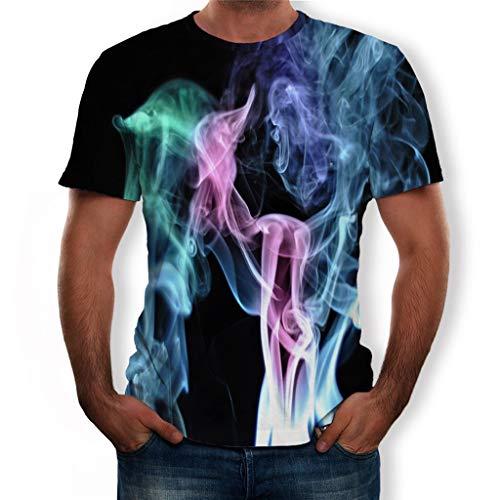 Tyoby Herren 3D Druckten Sommer-beiläufige Kurze Hülsen-T-Shirts T-Stücke Bequem Neon T-Shirt Mode Herrenbekleidung(SchwarzA,M)