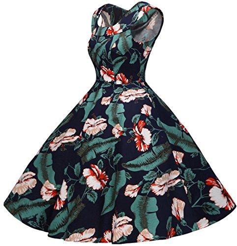 Bbonlinedress 50s Vintage Retro U-Ausschnitt Rockabilly Cocktail Party Kleider Navy Flower M - 3