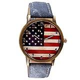 Uhren Yesmile Damen Herren Uhr Mode Amerikanische Flagge Drucken Armbanduhr Vintage Unsex Analoge Quarz Casual Uhren (18CM Länge, Blau)