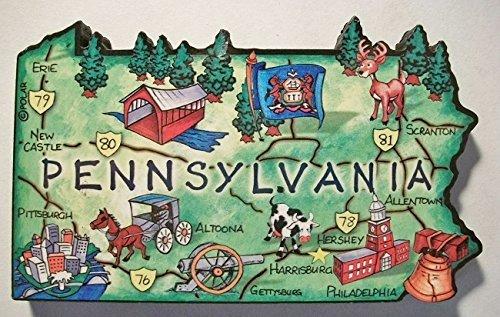 Pennsylvania die Keystone State Westerngitarre Artwood Jumbo Natur Kühlschrank Magnet