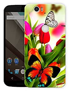 """Humor Gang Butterflies And Flowers Printed Designer Mobile Back Cover For """"Google Nexus 6 Plus"""" (3D, Matte Finish, Premium Quality, Protective Snap On Slim Hard Phone Case, Multi Color)"""