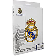 "Real Madrid RMTAB001 - Funda con escudo para Tablet 10"" Slim, Blanco"