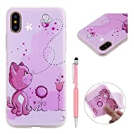 Housse en silicone TPU pour iPhone x, zcro silicone Soft Gel TPU Cover Transparent Clear with Beautiful Design Flexible Durable Bumper slim Scratch Resistant Case Cover with Stylus