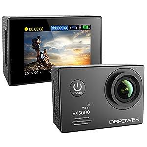 dBpower EX5000  - Cámara de acción (14 MP, LCD de 2'', con 2 baterías, HDMI, USB, AV), color negro