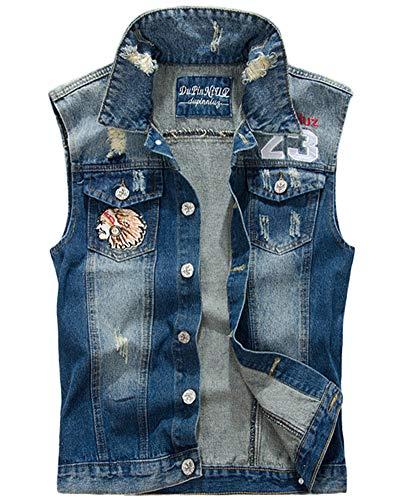 Herren Jeans Weste Ärmellose Zerrissene Fit Beiläufige Cowboy Denim Jacke Slim Fit Weste Jeansweste Blau L