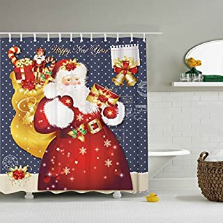 ZBLX Santa Claus Shower Curtain Waterproof Mildew Resistant Fabric Polyester 100% Shower Curtain. (Gift Claus,60