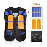 Kids Tactical Vest Kit with 20pcs Soft Foam Darts, Goggles Glasses and 12-Dart Quick Reload Clips for Nerf Gun N-strike Elite Series (Vest+20pcs Darts+2 Clips+Goggles Glasses)