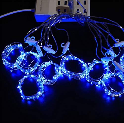8-string-licht-lampe (SHINEELI 300 LED Vorhang Lichter, USB mit Fernbedienung, 8 Modi, geeignet für Hochzeitsfeier Familie Garten Schlafzimmer Outdoor Indoor Wanddekoration,Blue)