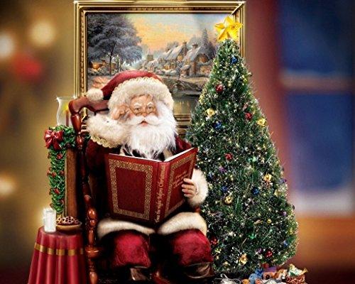 Van Eyck, Stampa su tela di Thomas Kinkade, motivo: albero di Natale, renne e slitta (Thomas Kinkade Artwork)