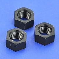 Electronics-Salon 1000pcs Métricas M10 negro nailon tuercas hexagonales, hexagonal.