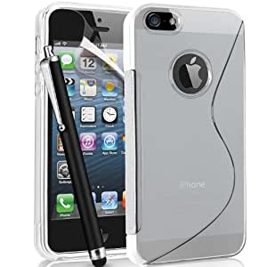 Apple Iphone 5 Premium Quality and Stylish Wave Design TPU Hyadro Gel Case Cover, Screen Protector, And Stylus - Transparent Clear