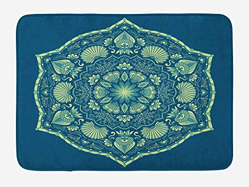 MSGDF Floral Bath Mat, Victorian Design Inspirations Ornate Petals and Foliage Illustration, Plush Bathroom Decor Mat with Non Slip Backing, 23.6 W X 15.7 W Inches, Cobalt Blue and Pale Green
