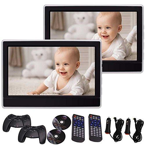 EinCar 11,6-Zoll-Schwarz-Auto-Kopfsttze Monitore mit DVD-Player / USB / HDMI + Spiele Dual Screen Tablet-Stil Auto-Entertainment-System eingebauten IR/FM/Lautsprecher/ Kopfhrer-Buchse mit Fernbedienung