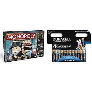 Monopoly - Electronic banking (Hasbro B6677105) con Duracell Ultra Power - Pack DE 12 Pilas alcalinas AAA