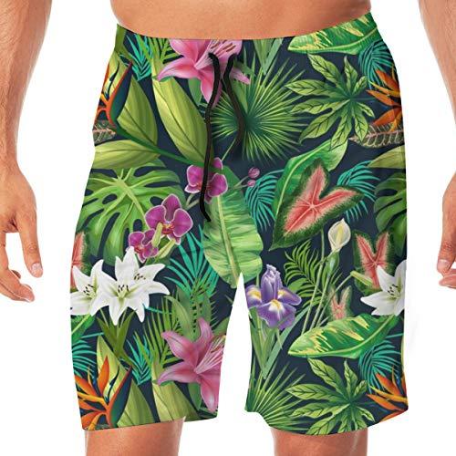 Men's Swim Trunks Tropical Lush Sanctuary, A Bohemian Paradise_3242 Quick Dry Beach Wear Shorts Swimwear with Pockets,XXL