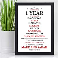1st, 25th, Silver, 40th, Ruby, 50th Golden Wedding Anniversary PERSONALISED Gifts for Husband, Wife - Custom Paper, 10th, 30th Wedding Anniversary Presents for Him, Her, Couples Keepsake