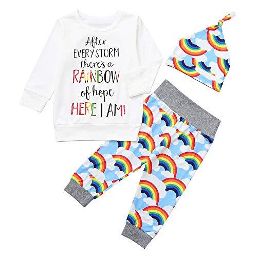 Oyedens Babydruck Top + Pants + Hut Langarm-Buchstabe Regenbogen-Druckkleidungssatz Säuglingsbabys Jungen Brief Print Tops Regenbogenhosen Hut Outfits Set Kleidung (3M-24M (Mode-kleidung Jahre 60)