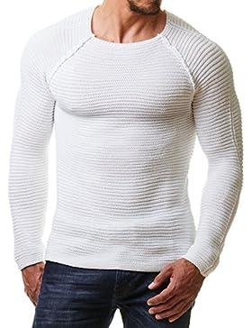 EightyFive Herren Pullover Feinstrick Schwarz Weiß Anthrazit Grau Blau Beige EF8542