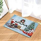 SRJ2018 Bottes Longues en Coton Rouge, Barbe Blanche du père Noël, allongées sur Un Fauteuil à Bascule à côté du poêle Tapis de Sol ou de Porte Super Absorbant, Doux et Confortable 60X40CM