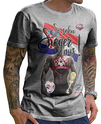 Stylotex Herren T-Shirt Basic So sehn Sieger aus Guy Croatia Hrvatska Kroatien, Größe:XL, Farbe:Heather