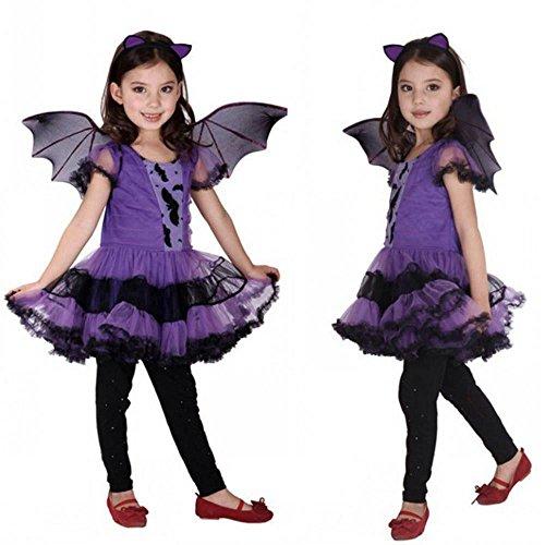 Kostüm Bat Kleinkind - feiXIANG Toddler Röcke Mädchen Röcke Baby Minikleid Mädchen Halloween Bekleidung Kleider Partykleid Dress + Hair Hoop +Bat Wing Outfit Kinder Halloween Kostüme (140, Lila)