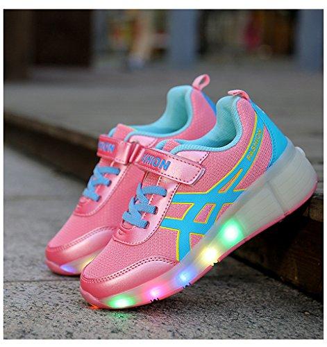 NEWZCERS Unisex adultes enfants patins à roulettes chaussures avec lumière LED simple roue chaussures de course Rose