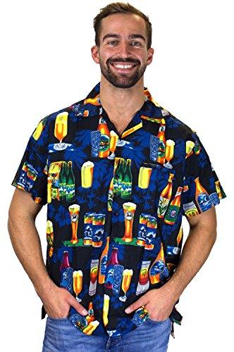 King Kameha   Funky Camicia Hawaiana Da Uomo   XS - 6XL   Maniche Corte   Tasca Frontale   Stampa Hawaiana   Birra Fiori partito   nero Nero