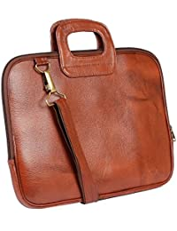 AVI Genuine Leather Tan Executive Slim Laptop Bag Single Compartment