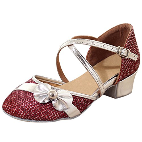Oasap Girl's Round Toe Bow Low Heels Latin Mary Jane Shoes Red
