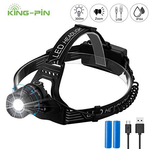 King-Pin USB Wiederaufladbare LED Stirnlampe Kopflampe, Fokusverstellbar, Super Hell, Wasserdicht Helmlampe stirnlampen Perfekt fürs Campen, Gehen, Wandern, Angeln, Klettern