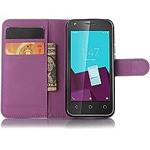 Funda Libro para Vodafone Smart Speed 6, Ycloud Suave PU Leather Cuero Con Flip Cover, Cierre Magnético, Función de Soporte,Billetera Case con Tapa para Tarjetas + 1x Lápiz óptico (Púrpura)