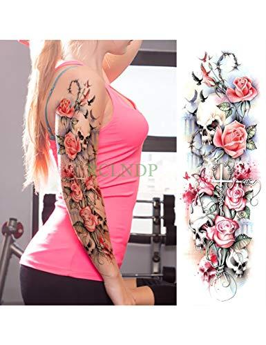Astty adesivo tatuaggio impermeabile autoadesivo del tatuaggio temporaneo carpa pesce fiore braccio pieno falso tatto flash manica tatoo di grandi dimensioni per le donne uomini, prugna
