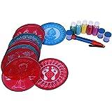 "Complete Rangoli kit, Includes 10 pcs 8"" Round Stencils, 5 Color Bottles 100 gm Each,1 Rangoli Pen,3 Color fillers + Free 1 Welcome Rangoli Stencil"