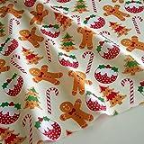2x M Weihnachten Lebkuchen Herren Puddings Bäume Polycotton Stoff von Stoff Pinguin