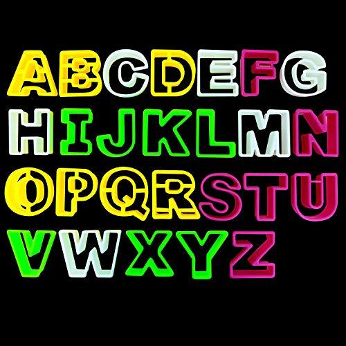 Kurtzy 26 piezas Lettre Formine per Biscotti - Tagliabiscotti Alfabeto - Stampini per Biscotti con Lettere dalla A alla Z - Stampi in Plastica a Forma di Lettera