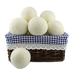 Hoki Found XL Premium New Zealand Wool Dryer Balls, Set of 6 With Cotton Carrying Bag, Natural Fabric Softener