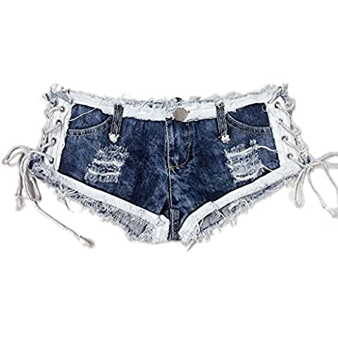 Byjia Frauen Seil String Krawatte Naht Hot Pants Sexy Cut Off Mini Shorts Jeans Jeans Low Waist Night Club . Picture Color . L