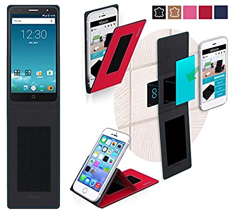 Alcatel Pop Mirage Cover in Red - innovative 4 in 1 Case - Anti-Gravity Wall Mount, Car Tablet Holder, Table Stand Holder - Protective Bumper for a Car and Wall without tools or glue - for the Original Alcatel Pop Mirage from