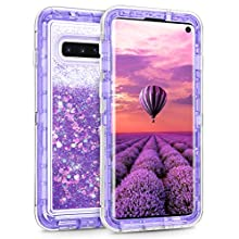 Coolden Heavy Duty Case for Samsung Galaxy S10 Case Glitter Shockproof Case Floating Bling Sparkle Shiny Quicksand Liquid Clear Protective Case Phone Case Cover for Samsung Galaxy S10 (Purple)