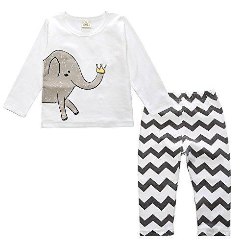 Chickwin Conjuntos de Pijama para Bebés Niños Niña, Unisex Manga Larga Top Pantalones de Pijamas Enteros 12 Meses~3 Años (XL, A Elefante)