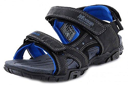 Montega Jungen Trekking Sandale Schwarz Blau mit Klettverschluss, Schuhgröße:38