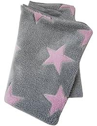 WOLLHUHN Warmes Halstuch, Schlauchschal, Schlupfschal, Schal grau mit rosafarbenen Sternen für Mädchen, 54214695, Wellnessfleece
