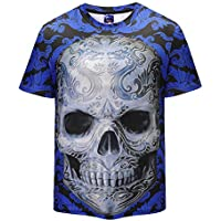 FENICAL Hombres Cool T-Shirt 3D Skeleton Print Manga Corta Summer Tops Tees Fashion Loose Shirt Talla M