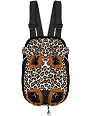 Kraptick Canvas Kangaroo Pouch Front Back Leopard Print Pet Backpack Carrier with Wide Straps Shoulder Pads, Adjustable Legs Out (XL Size)