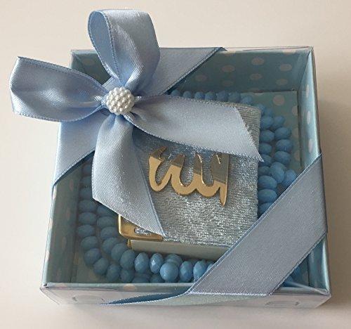Mini Kuran & Gül Kokulu Tesbih 99'lu süslü Kare Kutu Içinde (10 Adet) / Mini Koran & Parfümierte Gebetskette mit Rosenduft und 99 Perlen in schöner Geschenkverpackung (10 Stück) (Blau)